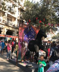 A broken horse installation at KGAF 2017